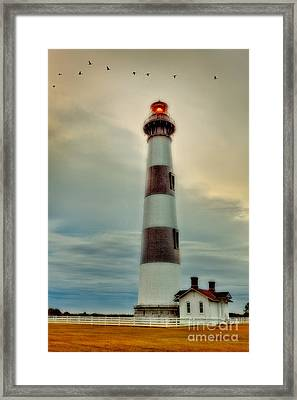 Bodie Lighthouse Outer Banks Abstract Painting Framed Print by Dan Carmichael