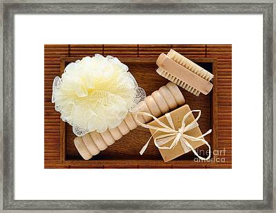 Body Care Accessories In Wood Tray Framed Print by Olivier Le Queinec