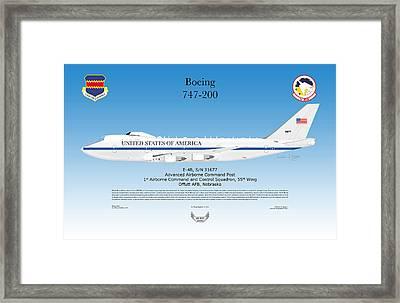 Boeing 747 200 E4b Framed Print by Arthur Eggers