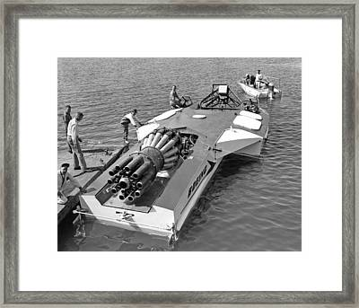 Boeing Jet Powered Speed Boat Framed Print by Underwood Archives