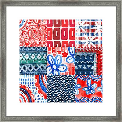 Boho Americana- Patchwork Painting Framed Print by Linda Woods
