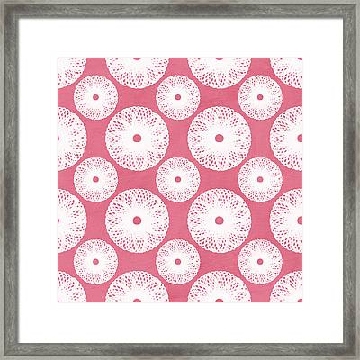 Boho Floral Pattern In Pink And White Framed Print by Linda Woods