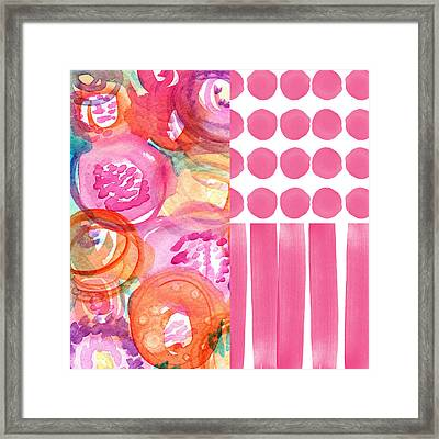 Boho Flower Patchwork- Watercolor Art Framed Print by Linda Woods