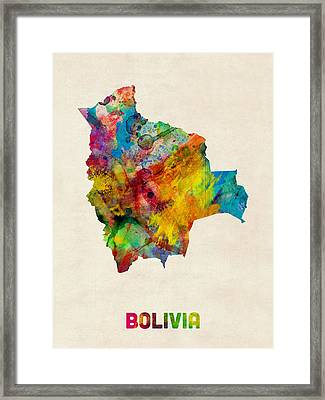 Bolivia Watercolor Map Framed Print by Michael Tompsett