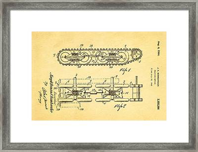 Bombardier Chain Tread Patent Art 1944  Framed Print by Ian Monk
