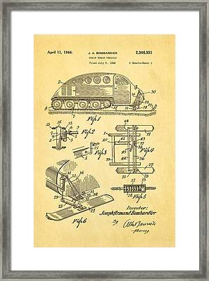Bombardier Chain Tread Vehicle Patent Art 1944 Framed Print by Ian Monk