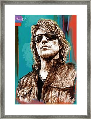 Bon Jovi Long Stylised Drawing Art Poster Framed Print by Kim Wang