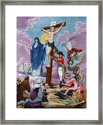 Bonaparte, Restorer Of Religion And Supporting The Cross, Allegory On The Concordat, 1802 Coloured Framed Print by French School