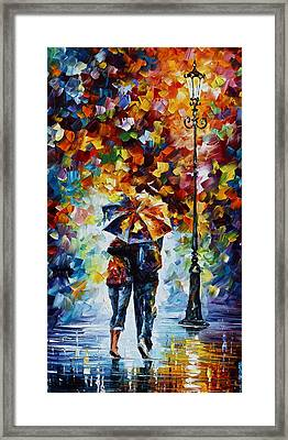 Bonded By Rain 2 Framed Print by Leonid Afremov