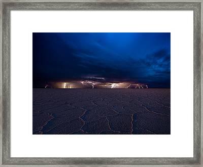 Bonneville Lightning Framed Print by Peter Irwindale