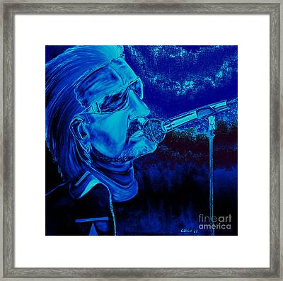 Bono In Blue Framed Print by Colin O neill