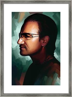 Bono U2 Artwork 1 Framed Print by Sheraz A