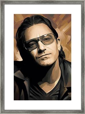 Bono U2 Artwork 2 Framed Print by Sheraz A