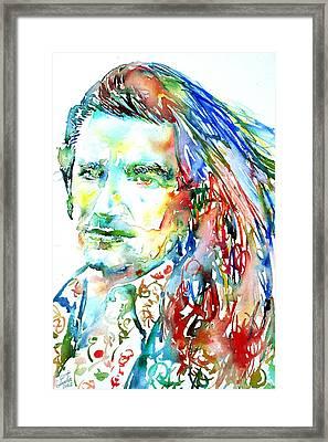 Bono Watercolor Portrait.2 Framed Print by Fabrizio Cassetta