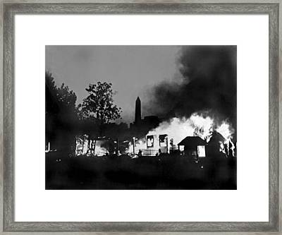 Bonus Army Camp Fires Framed Print by Underwood Archives