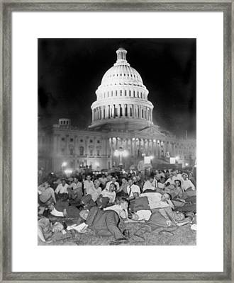 Bonus Army Sleeps At Capitol Framed Print by Underwood Archives