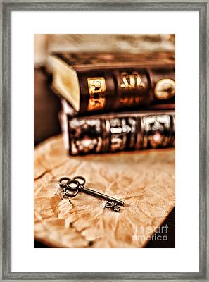 Books And Key Framed Print by HD Connelly