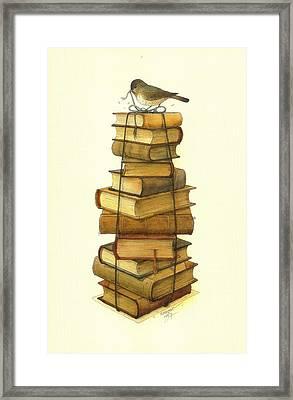 Books And Little Bird Framed Print by Kestutis Kasparavicius