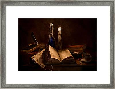 Books Candles And Coffee Cup Framed Print by Mary Tomaino
