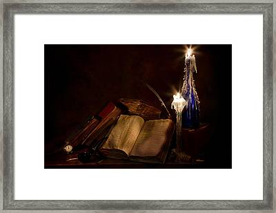 Books Candles And Proverbs Framed Print by Mary Tomaino