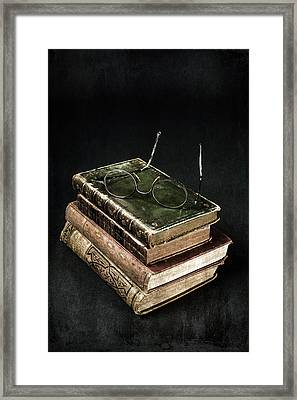 Books With Glasses Framed Print by Joana Kruse