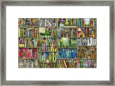 Bookshelf Framed Print by Colin Thompson