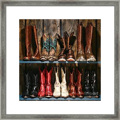 Boot Rack Framed Print by Olivier Le Queinec