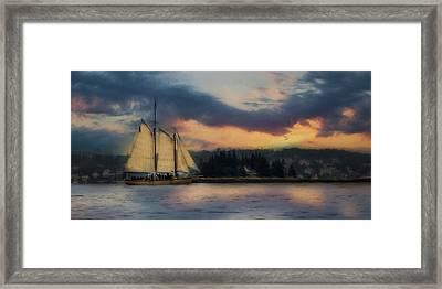 Boothbay Harbor Schooner Framed Print by Lori Deiter