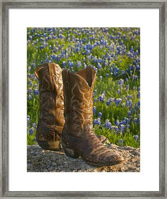 Boots And Bluebonnets Framed Print by David and Carol Kelly