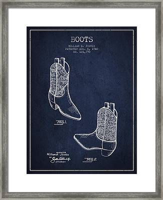 Boots Patent From 1940 - Navy Blue Framed Print by Aged Pixel