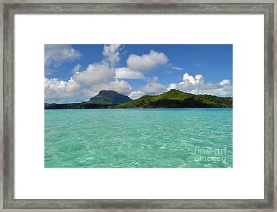 Bora Bora Green Water Framed Print by Eva Kaufman