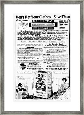 Borax Detergent Advert Framed Print by Library Of Congress