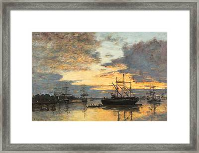 Bordeaux In The Harbor Framed Print by Eugene Louis Boudin