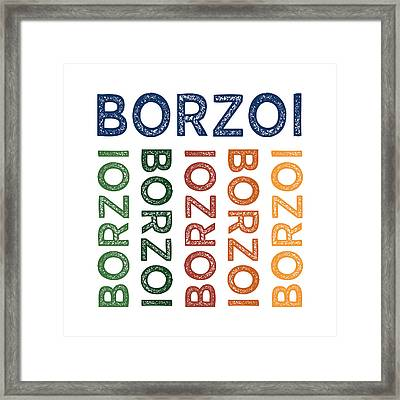 Borzoi Cute Colorful Framed Print by Flo Karp