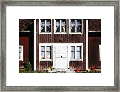 Borzoi Dog In The Window Of Old House Framed Print by Christian Lagereek