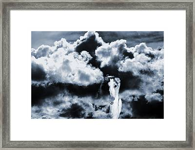 Borzoi Wolf Hound Emerging Through Mist And Clouds Framed Print by Christian Lagereek