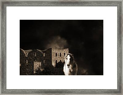 Borzoi Wolf Hound Hunting At Night Framed Print by Christian Lagereek