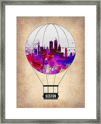 Boston Air Balloon Framed Print by Naxart Studio