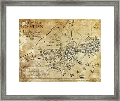 Boston Bonner Map 1722 Framed Print by Daniel Hagerman