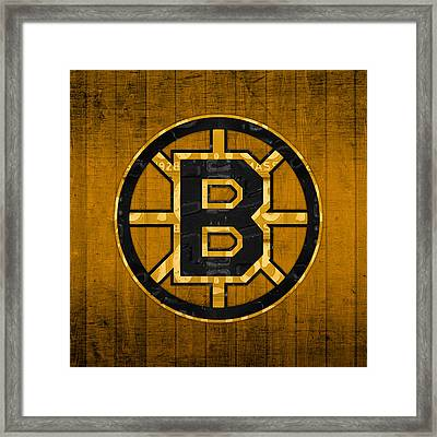 Boston Bruins Hockey Team Retro Logo Vintage Recycled Massachusetts License Plate Art Framed Print by Design Turnpike