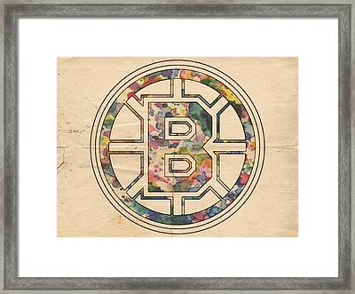 Boston Bruins Poster Art Framed Print by Florian Rodarte