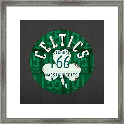 Boston Celtics Basketball Team Retro Logo Vintage Recycled Massachusetts License Plate Art Framed Print by Design Turnpike