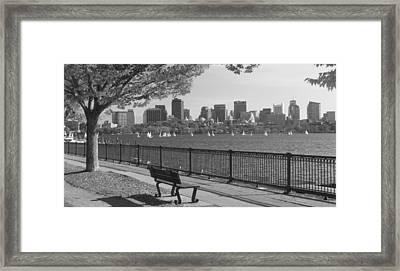 Boston Charles River Black And White  Framed Print by John Burk