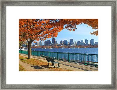Boston Charles River In Autumn Framed Print by John Burk