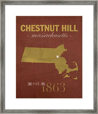 Boston College Eagles Chestnut Hill Massachusetts College Town State Map Poster Series No 020 Framed Print by Design Turnpike
