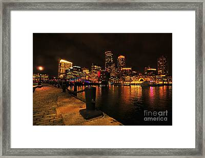 Boston Fan Pier City Skyline  Framed Print by Catherine Reusch  Daley