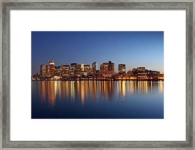 Boston Harbor And Downtown Framed Print by Juergen Roth