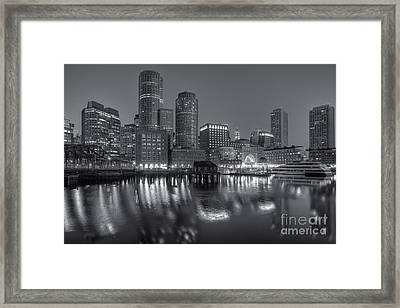 Boston Harbor And Skyline Morning Twilight Vi Framed Print by Clarence Holmes
