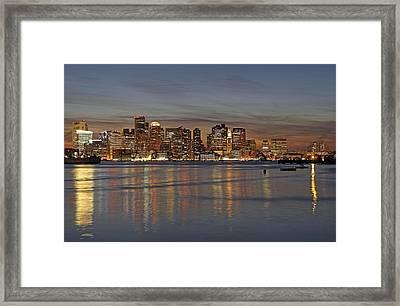 Boston Harbor Skyline Reflection Framed Print by Juergen Roth