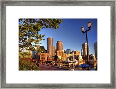 Boston Harbor Sunrise Framed Print by Joann Vitali
